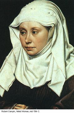 The wimple, a veil that completely covered a woman's neck and chin, was often worn with a veil over the top of the head.
