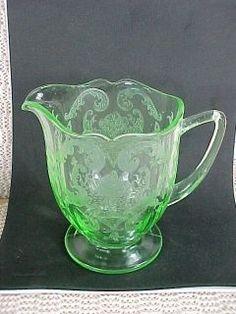 Elegant Depression Glass Patterns   Green Elegant Depression Glass Etched Creamer Unknown Maker & Pattern