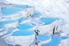 Natural turquoise pools of Pamukkale, Turkey