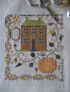 Pumpkin Farm de Blackbird Designs blackbird design, pumpkin farm, crossstitch, hous, cross stitches