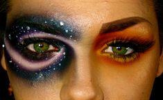 cool makeup sun moon, makeup eyes, eye makeup, halloween costumes, halloween makeup, dramatic eyes, costume makeup, halloween ideas, crazy eyes