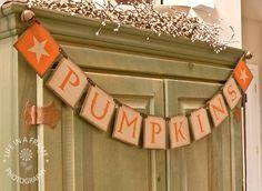 Primitive FALL BANNER PUMPKINS Garland Wall hanging Sign Holidays Halloween Decoration tdipt Word art. $32.00, via Etsy.