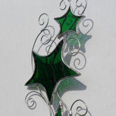 Green Stars & Curls Stained Glass Suncatcher