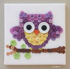 button art, owl art, girl nurseries, button crafts, easy owl crafts, button owl, mosaic, kid crafts, art projects