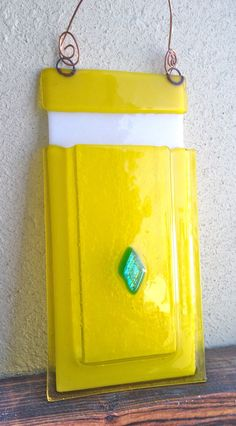 Fused Glass Pocket Vase with Green Dichroic by Mtbaldyglassworks, $19.00