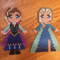 Anna and Elsa - FRozen perler beads by kristikrusephotography
