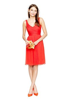 Brides.com: Radiant Red Bridesmaid Dresses for Your Bridal Party. Red Bridesmaid Dress: J.Crew. A-line, hand-draped v-neck chiffon dress, style 93100, $250, J.CrewSee more J.Crew bridesmaid dresses. J Crew A Lin, V Neck Red, Dresses Style, Jcrew, Bridal Parties, J Crew Bridesmaid, Red Bridesmaid Dresses, Dress Styles, Chiffon Dresses