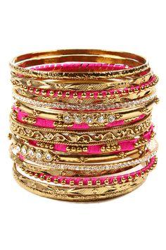 Fuchsia & Gold Bangles / Amrita Singh