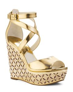 Michael Kors Gabrielle Wedge Sandal in Gold
