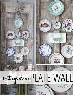 Vintage china belongs on display! decorative plates on wall, vintage plates, decorating ideas, vintag door, decorative wall plates, plate wall, decor idea, door plate, vintage doors
