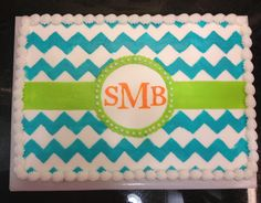 Monogram & chevron sheet cake!!