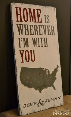 Custom Hand Painted Signs - Home Is Wherever I'm With You - Map With Hearts in Separate States - Anniversary Sign - Wedding Sign - Valentines Sign - by Church Street Designs