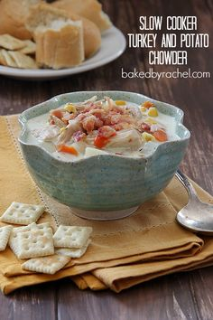 Slow Cooker Turkey and Potato Chowder Recipe from bakedbyrachel.com A hearty chowder to use up leftover Thanksgiving turkey.