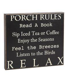Look at this #zulilyfind! 'Porch Rules' Box Sign #zulilyfinds
