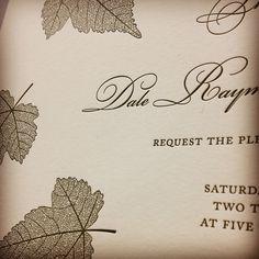 Really happy to see Autumn printed in hunter green! #letterpress #weddinginvitation #fallwedding
