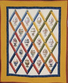 """Egg cups quilt, 20 x 30"""", by Jean Loken, who says:  Jean Loken, who generously shared the story with us: """"It was from a Dutch company, and friends of mine imported some of their fabulous fabrics and wondered if anyone they knew would tackle a quilt with instructions in Dutch."""""""