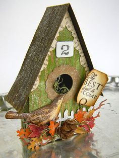 mixed media birdhouse
