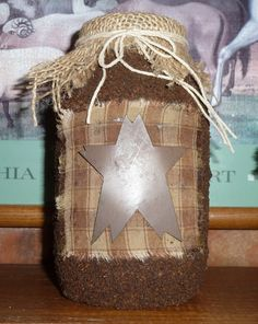 Primitive Grungy Star Quart Jar