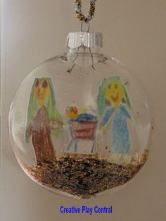 Hand drawn nativity in a christmas ornament ~ beautiful kid made christmas ornament