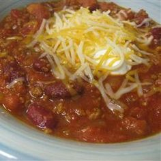 Easy chili with beans can be made as mild or spicy as desired.  Its even better the next day.