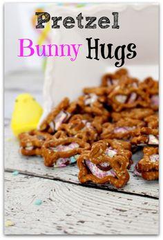 Easy pretzel bunny hug treats!