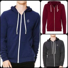 Barnabas Clothing Co. Zip Hoodie in Heather Red, Heather Navy, and Triblack.