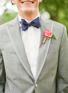 polka dots, grey suits, usher, color combos, bow ties, pastel weddings, grey coral groom, wedding colors, boutonnieres