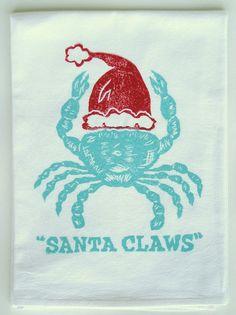 claw kitchen, coastal homes, holiday, beach cottages, seasonal decor, red santa, kitchen towels, santa claw, christma