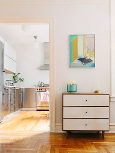 white + wood dresser