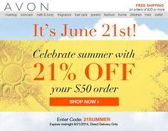 Avon Discount Code - Save 21% on your online Avon order of $50 or more plus Avon free shipping! Use code: 21SUMMER at http://eseagren.avonreprsentative.com #avon #beauty #makeup