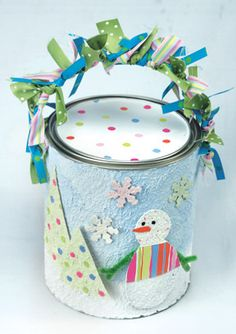 Decorated paint can filled with treats as a gift idea