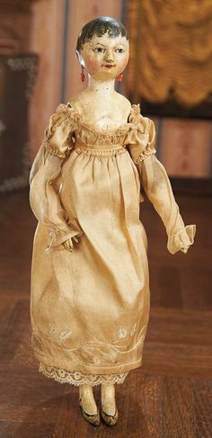Theriault's- 10 early grodnertal all-wooden doll with beautifully-shaped torso and legs