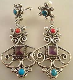 TAXCO MEXICAN STERLING SILVER AMETHYST TURQUOISE EARRINGS MEXICO $69.95