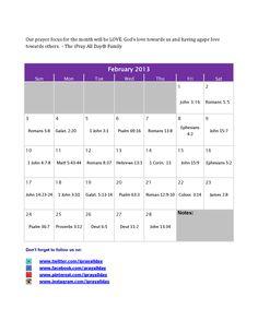 February 2013 Prayer Calendar ~iPrayAllDay