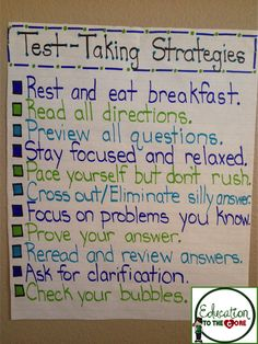 Education to the Core: Test-Taking Strategies Anchor Chart! Especially good right before tcap