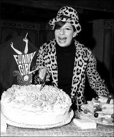Barbra Streisand with a Funny Girl birthday cake