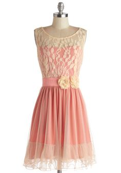 Home Sweet Scone Dress in Rose by Ryu - Tan / Cream, Flower, Lace, Ruffles, Party, A-line, Sleeveless, Better, Scoop, Sheer, Knit, Mid-lengt...