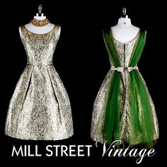Vintage 1950s 50s Dress --- Gold Green Metallic Adrian London Cupcake Party Wedding Prom Cocktail Special Occasion Chiffon Scarf XS S <3 the back!