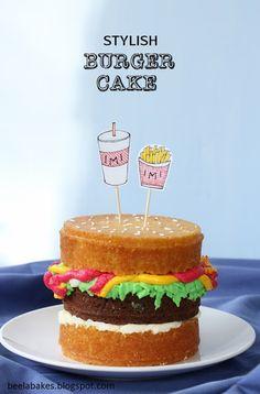 Beela Bakes: Stylish Burger Cake (Husband's Birthday!)
