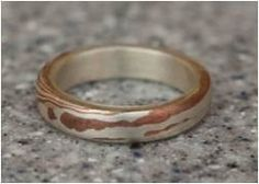 Mokume Gane Sterling and Copper band