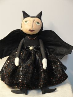 Halloween Primitive Bat Decorative Art Doll.