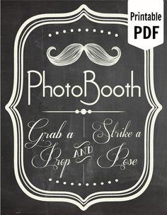 DIY. PRINTABLE PDF. Photo Booth Sign. Photo Booth Prop. Photobooth Prop. Photo Booth.Chalkboard Sign, Wedding Reception. Chalk. $7.00, via Etsy.