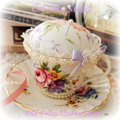 Old Foley, Vintage Rose English fine bone china cup & saucer pincushion