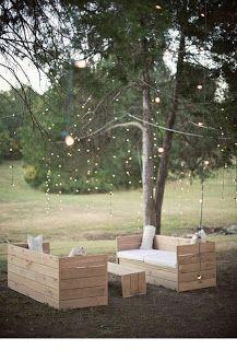 outdoor seating, hanging lights, bench, string light, patio, pallet furniture, backyard, wood pallets, garden