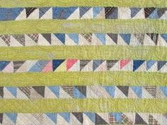 Detail, Antique 1880s Sawtooth OR Flying Geese Quilt Chrome Yellow Indigo Blue