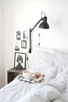 Black lamp on the wall