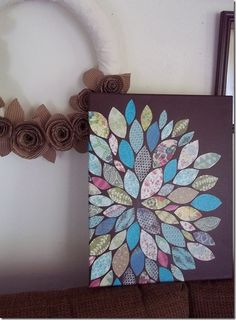 DIY Wall Art (paper and mod podge on painted canvas) crafty-goodness