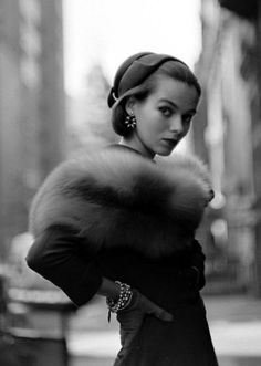 Model in furs for Life magazine, 1952.  dainty face and rich fur furs, hollywood glamour, dress, magazines, life magazine, fashion photography, hat, vintage style, gordon parks