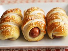 DIY Stadium Foods for Your Game-Day Party {Pretzel Hot Dogs or Veggie Dogs} | ivillage.com pretzel dog, flour, cocktail parties, pigs, wedding foods, blankets, pretzels, school snacks, hot dogs