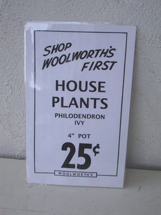 VINTAGE WOOLWORTH Co black white SIGN House by absenceofcolor, $60.00